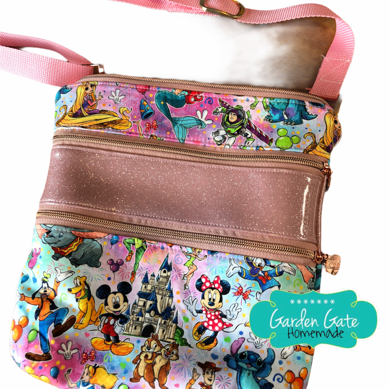Triple Zip Crossbody - Pink Tie-Dye Disney Friends